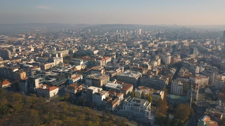 Cityscape of Belgrade at sunny day. Aerial view | Shutterstock HD Video #1019785510