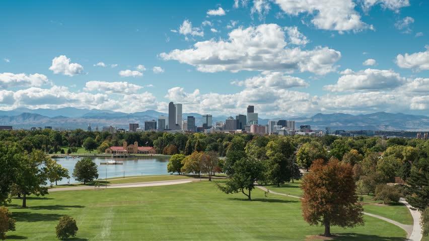 Time lapse of clouds over City Park & Downtown Denver, Colorado