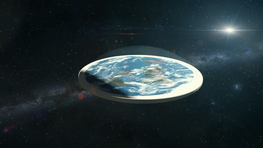 Flat Earth Conspiracy Model Drifting Through Space