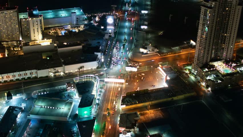 Las Vegas Downtown Traffic Aerial Time Lapse #1019812213