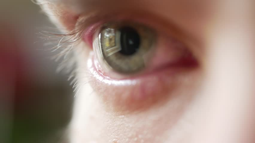 Eye irritated by onions and crying, closeup macro white male  | Shutterstock HD Video #1019837398