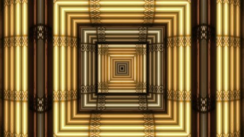 Square art deco style gold and black frames lighting up consecutively