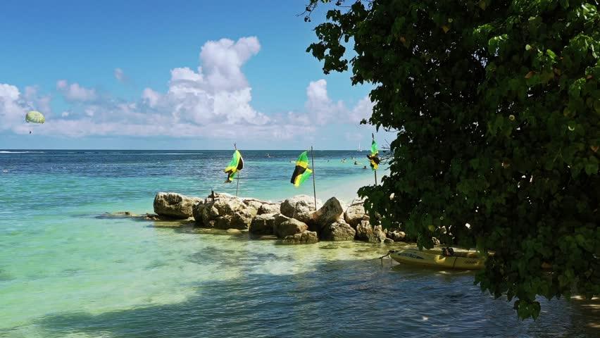 Aerial footage of a wonderful white sandy beach on the caribbean island Jamaica   Shutterstock HD Video #1019851186