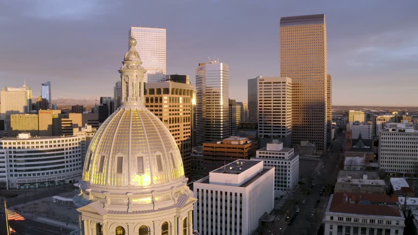 4k aerial drone footage - Sunrise over the city of Denver Colorado.   | Shutterstock HD Video #1019854207