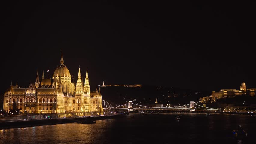 Hungarian Parliament and Danube at Night | Shutterstock HD Video #1019891671