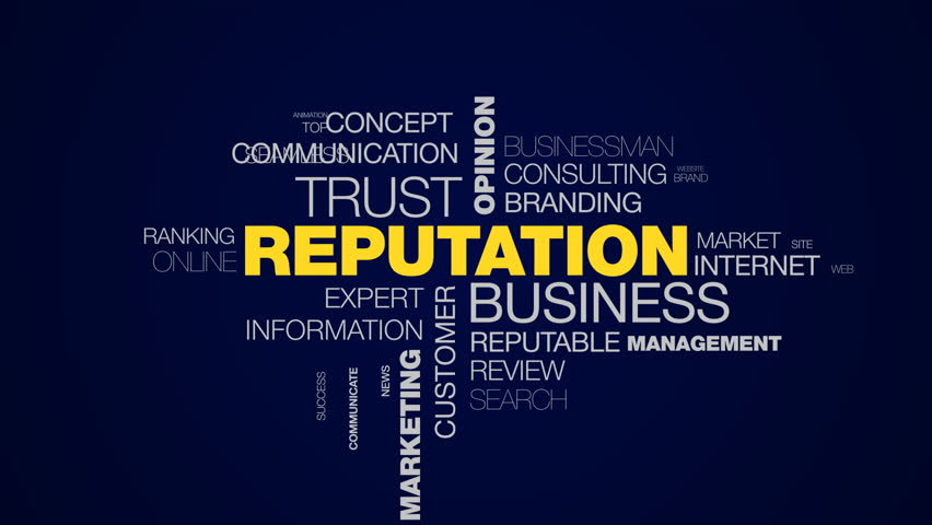 reputation business trust opinion popular relations pr social public marketing credibility animated word cloud background in uhd 4k 3840 2160.
