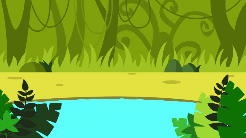 Cartoon Pond animation. Cartoon landscape with deep jungle background with space for your text or logo. colorful forest animation full hd. game background 4k. rain forest with lake animation.