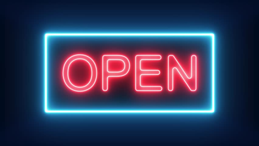 We're Open Neon Sign Background Seamless Looping/ 4k animation of a neon open sign blinking for night storefront, restaurant, motel and night business