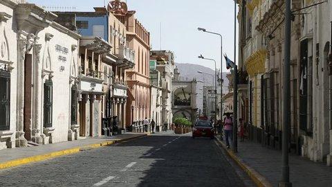 Arequipa / Peru - 28 Okt 2017: walk through the city center