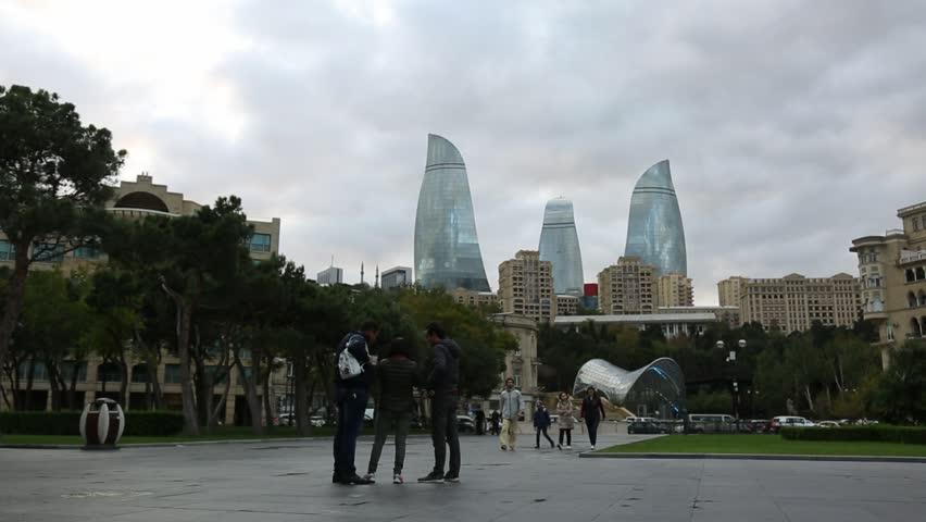 Baku / Azerbaijan / Okt 10 2017: View on Baku Flame Towers  | Shutterstock HD Video #1019945947