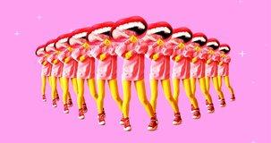 Fashion animation design. Dancing Funny lips and pizza slice. Pizza lover idea