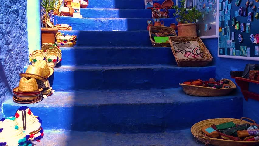 Stairs on street of the blue medina of town Chefchaouen in Morocco, Africa