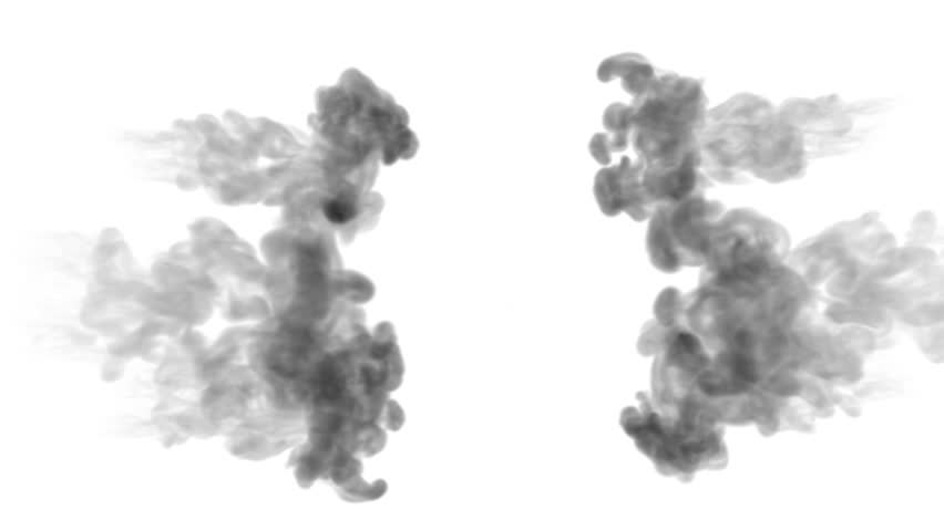 Black ink on a white background dissolves in water. beautiful effect modeled on a computer. 3d render with luma matte for use as an alpha channel for visual effects. many injections 4   Shutterstock HD Video #1019973982