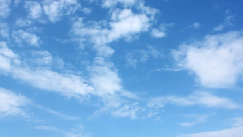 Blue soft clear sky, white rolling & fast motion beautiful clouds, time lapse. Summer good time, wind fast moving cloudscape away in horizon, real colours. 4K. #1019980567
