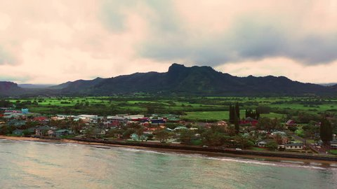 Aerial Hyperlapse Flying Along Waterfront Kauai Hawaii Kapaa Town Evening Warm Orange Light