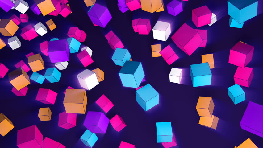 Rotating 3d cubes of different trend colors flying in space - an abstract seamless looped video pattern. | Shutterstock HD Video #1020000715