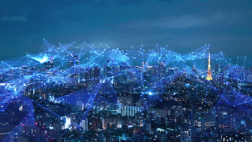 smart city and communication network concept. Royalty-Free Stock Footage #1020020716