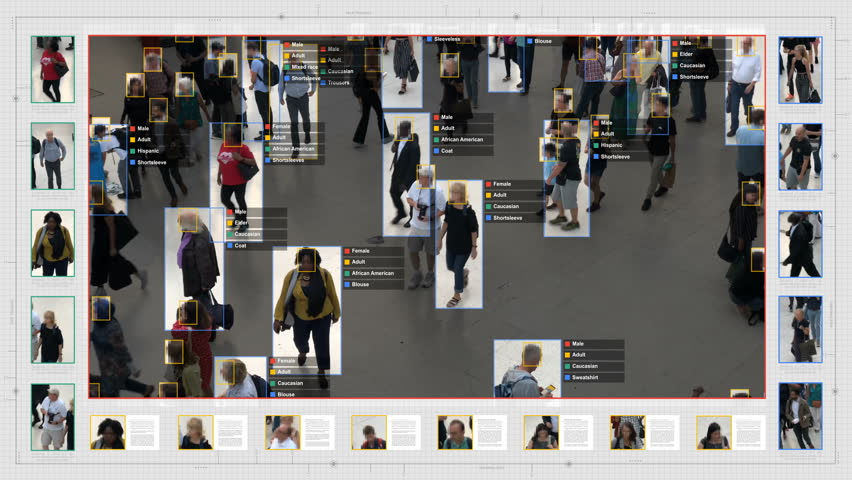 Surveillance interface using artificial intelligence and facial recognition systems to categorize individual data. Sex, race and type of clothing. Deep learning. Futuristic technology. Computer vision | Shutterstock HD Video #1020030829