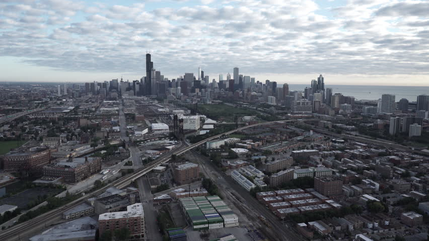 Chicago Circa-2015, aerial view of the downtown skyline shot from Chinatown in the morning