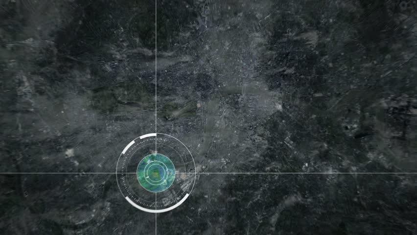 Surveillance drone or satellite camera scanning London, United Kingdom