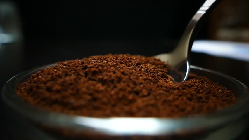 Spoon take freshly ground coffee. Brew smelling morning coffee. Cooking hot bracing drink. Arabica cup. #1020054187