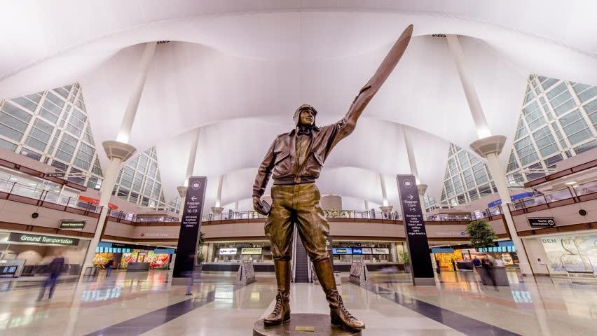 Denver, Colorado - November 2, 2018: Timelapse of the aviation statute Jeppesen inside Denver International Airport