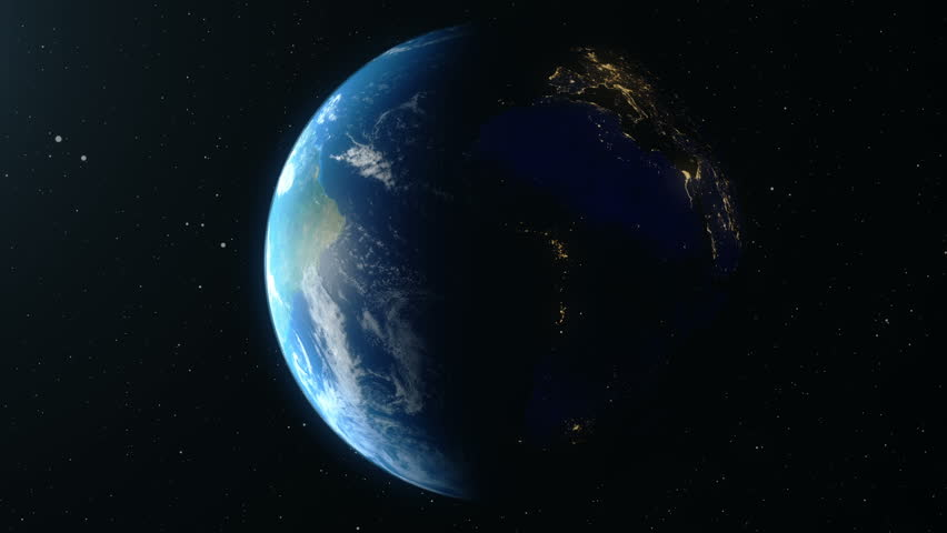 Earth Rotates Around Its Axis. World Globe Surrounded By Infinite space. World Globe from Space. Looped animation, Change of night and day. Elements of this image furnished by NASA #1020055924