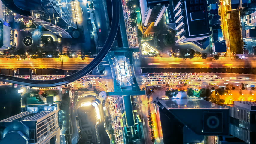 Time lapse high view high rise buildings in bangkok thailand road in wide angle at night. | Shutterstock HD Video #1020059608