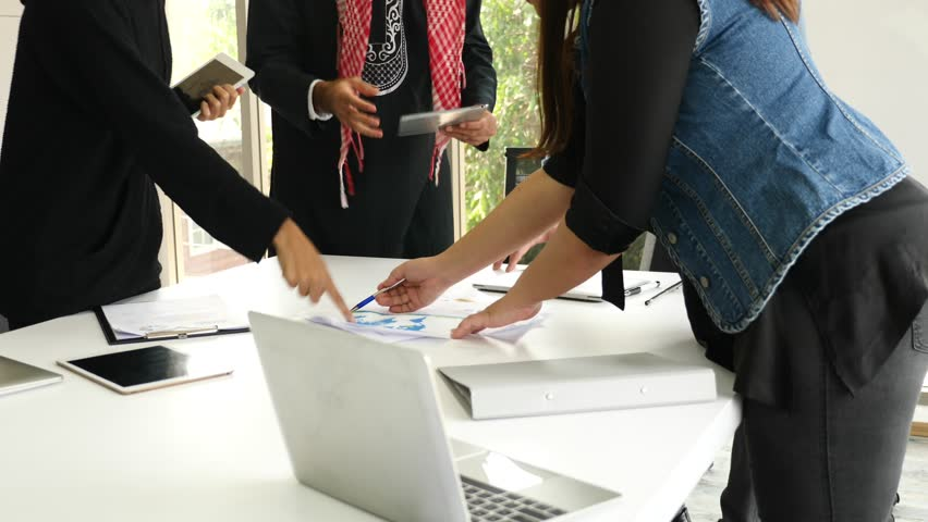 Business people conflict problem working in team together while meeting in office #1020059653