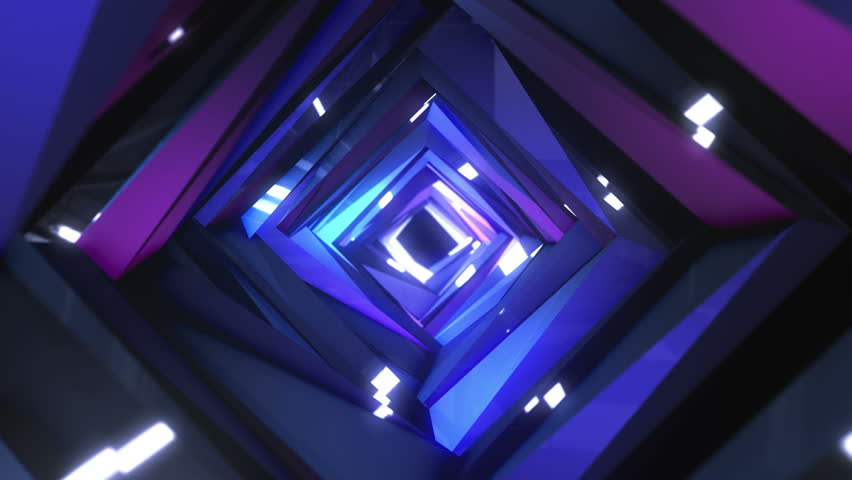 Abstract technology tunnel. Segments construction sharp corners with multicolor  reflections the camera moves forward towards. Dynamic background for project.