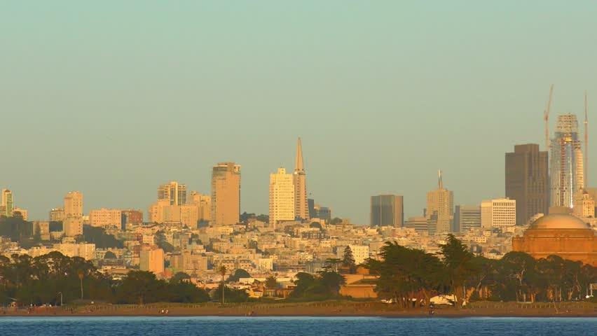 San Francisco Skyline as seen from Chrissy Field in San Francisco, California, USA. | Shutterstock HD Video #1020065428