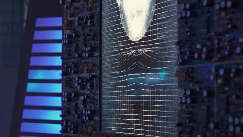 Toliatty, Samarkaya obl. / Russia - 11 24 2018: Cosmic voice assistant. Hologram of a woman alien captain's cabin. The wall on which the hologram is located is made of microchips and microchips.