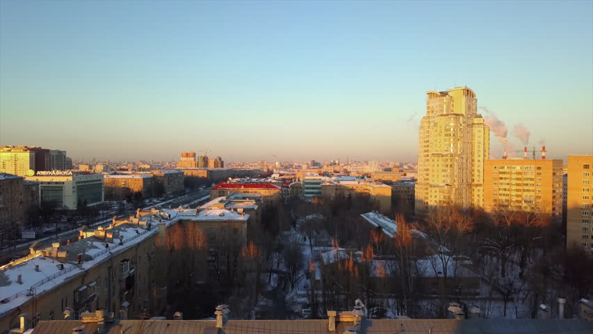 Sunset time winter day moscow cityscape aerial panorama 4k russia | Shutterstock HD Video #1020145843