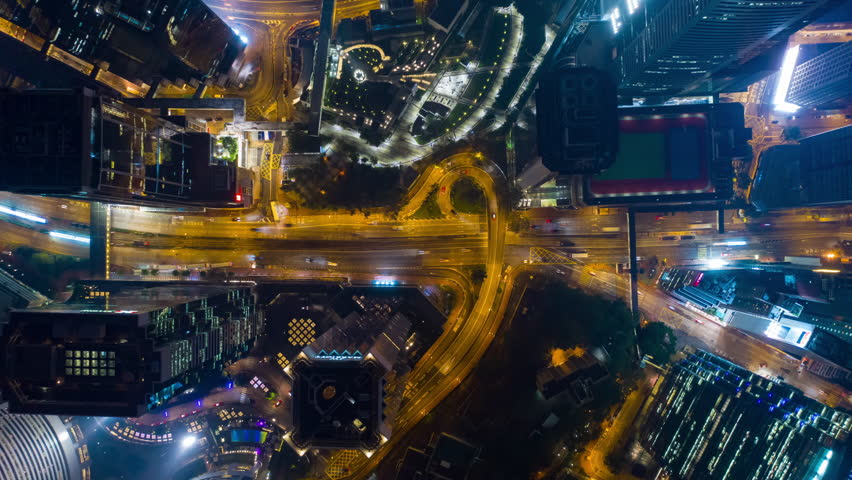 Night illuminated city center traffic streets aerial timelapse topdown panorama 4k hong kong | Shutterstock HD Video #1020148180