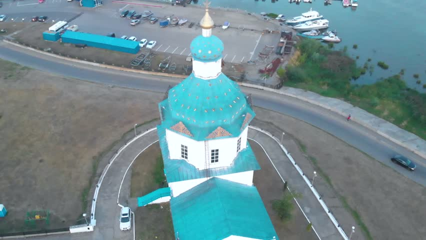 Aerial View of the Church, Cheboksary gulf, Chuvashia , Russia | Shutterstock HD Video #1020152614