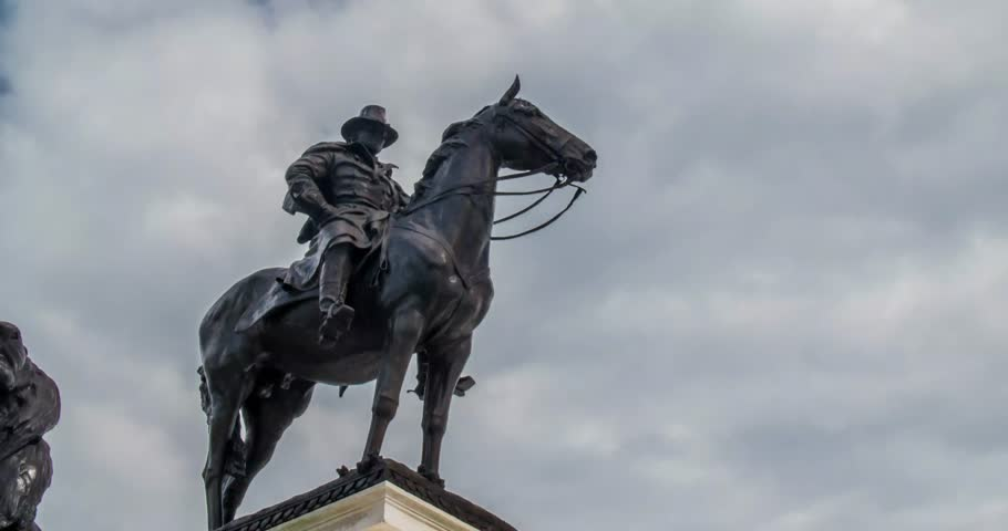 Timelapse of General Ulysses S. Grant statue in Washington DC taken during daytime, passing clouds overhead