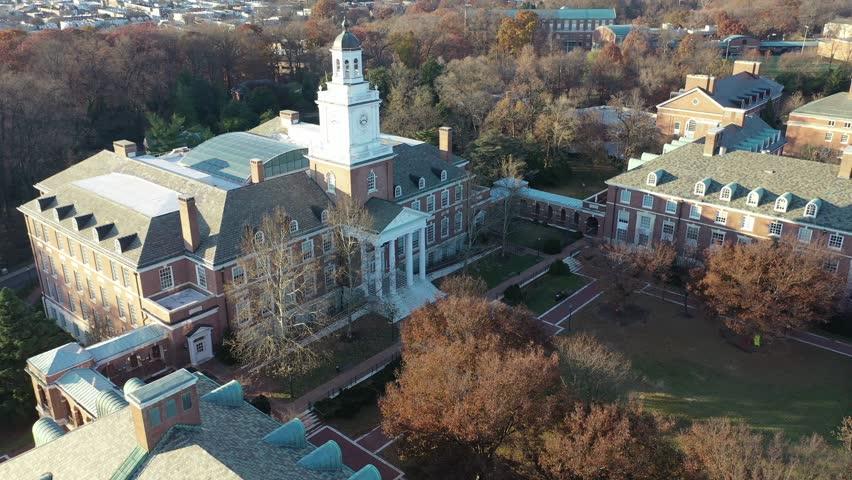 Baltimore, Maryland / United States - November 1, 2018 : Aerial of Johns Hopkins University