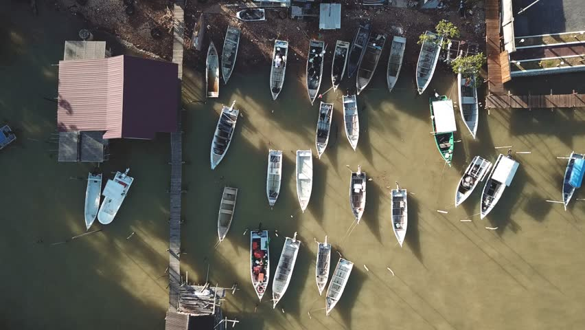 Drone view of boats at fish jetty, malaysia  | Shutterstock HD Video #1020190504