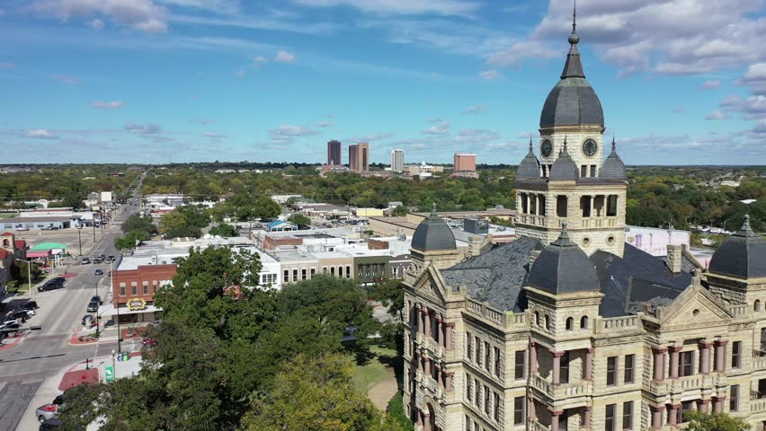 Denton, Texas / United States - October 1, 2018 : Aerial of downtown Denton, a city in Texas within the Dallas-Fort Worth metro area.