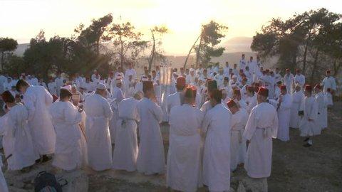 Samaria,Palestinel/Israel-2018:Slow Motion, Samaritan pilgrimage ceremony at Mount Gerizim near West Bank city of Nablus,Samaria
