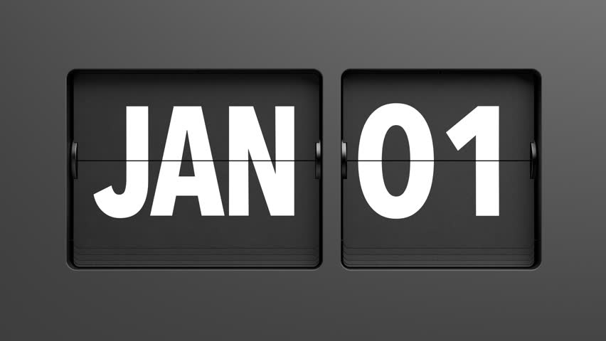 A flip clock calendar turns quickly through the days of the year, from January 1st to December 31st - high quality 3d animation  Royalty-Free Stock Footage #1020248578