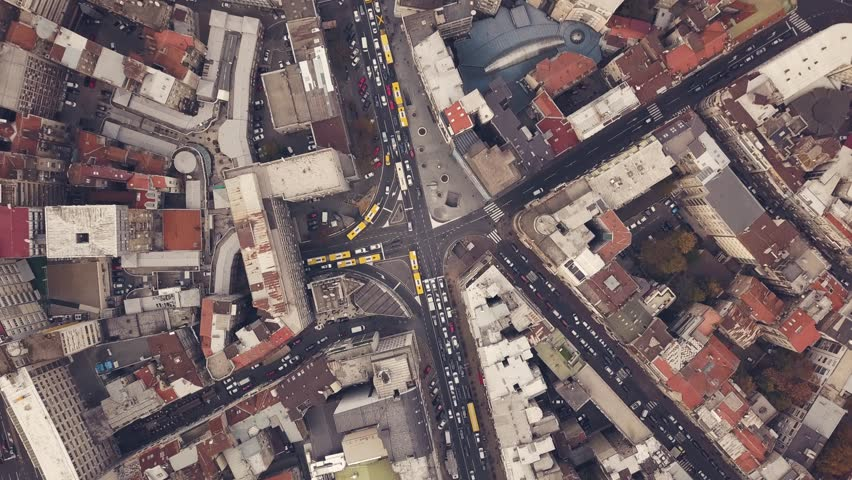 Top view of streets with car traffic in Belgrade