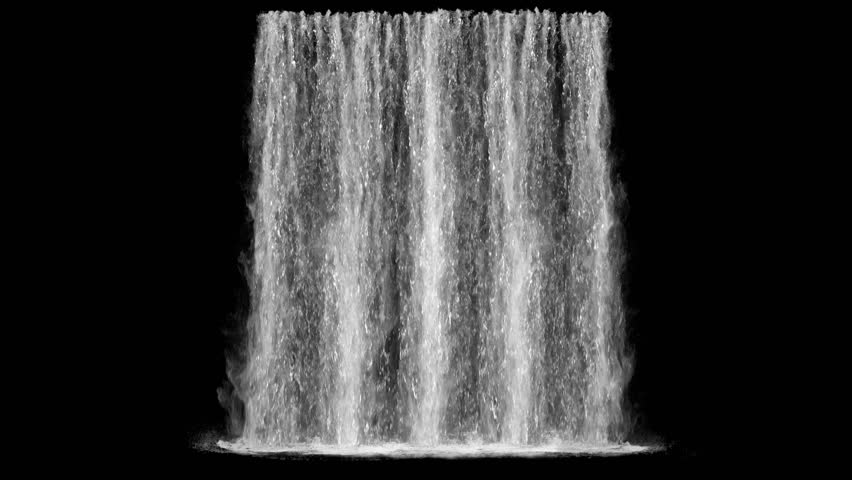 waterfall texture seamless loop, 4k, isolated on black with alpha and separate foam layer #1020265231
