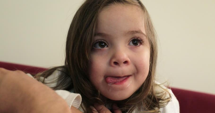 Portrait of little girl child watching TV screen | Shutterstock HD Video #1020269167