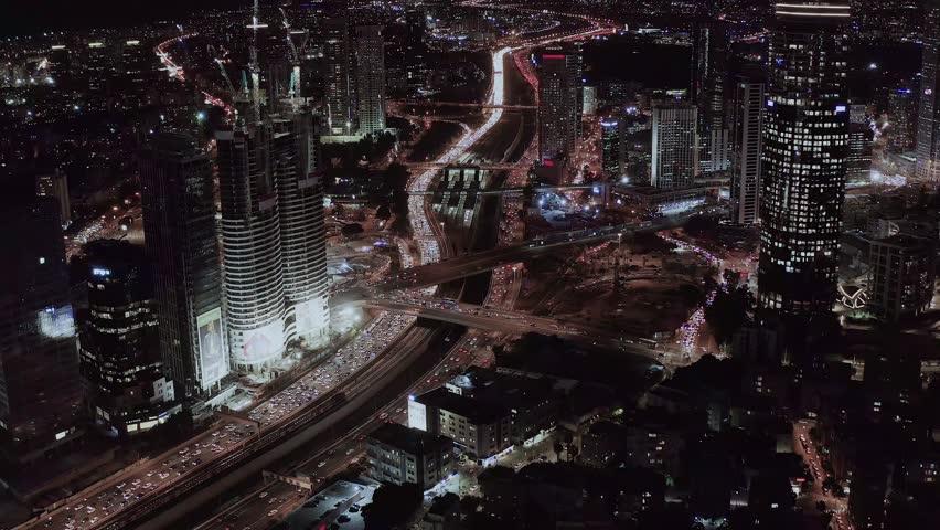 Night view on Tel Aviv bursa, aerial 4k | Shutterstock HD Video #1020291325