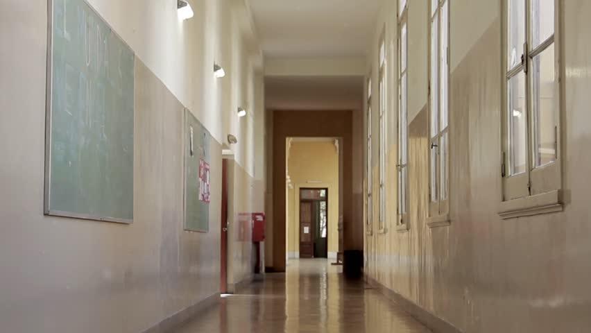 Empty Corridor in a School. Zoom Out. | Shutterstock HD Video #1020318763
