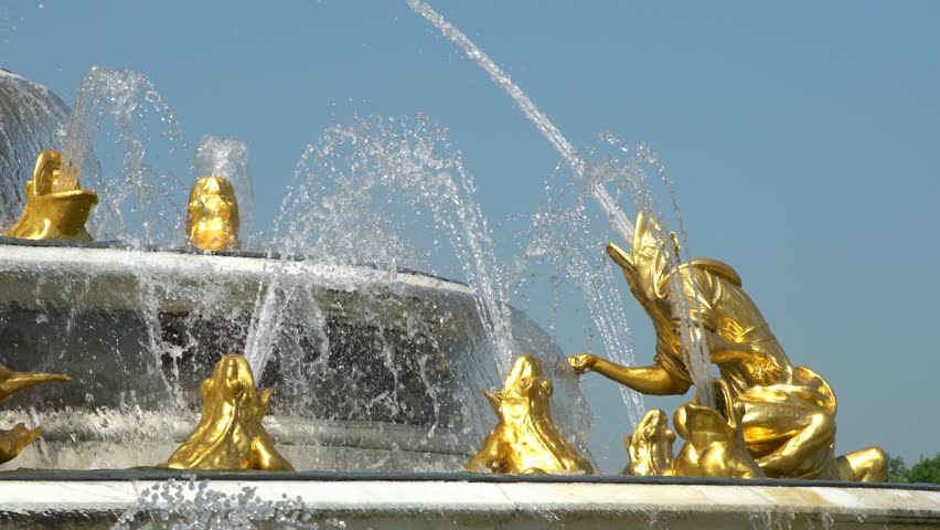 The famous Bassin de Latone Fountain of Palace of Versailles at France | Shutterstock HD Video #1020318952