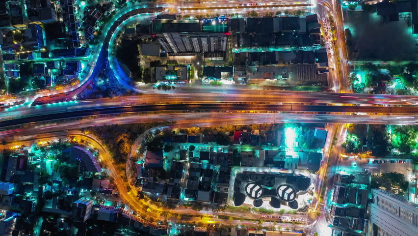 Time lapse,Hyper lapse , Of traffic on city streets in Thailand. Aerial view and top view Expressway with car lots. 4K | Shutterstock HD Video #1020347905