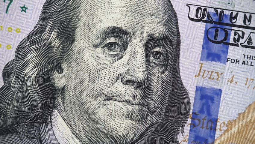 Benjamin Franklin on US 100 dollar bill rotating, money close up. 4K ultra hd video footage | Shutterstock HD Video #1020352123
