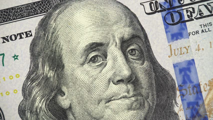 Benjamin Franklin on US 100 dollar bill 2013 rotating, money close up. 4K ultra hd video clip | Shutterstock HD Video #1020352126